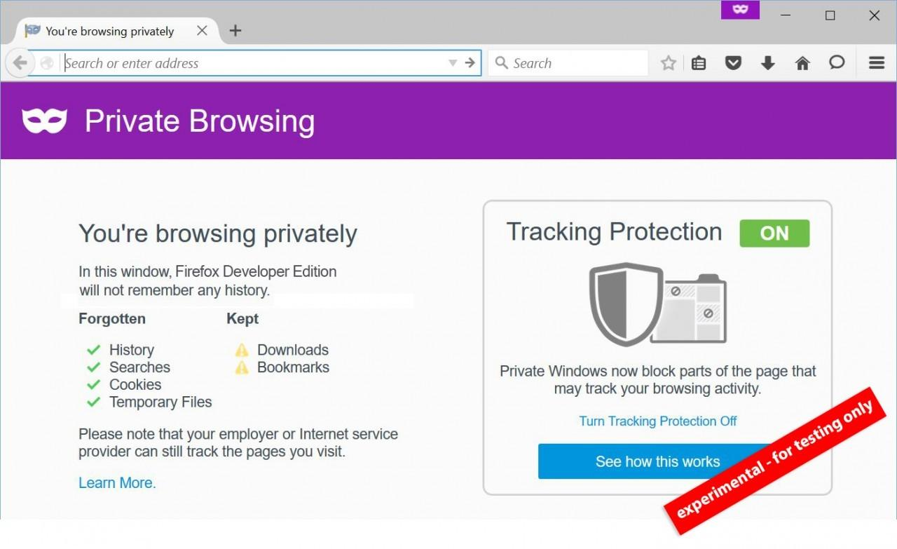 Firefox experimental private browsing