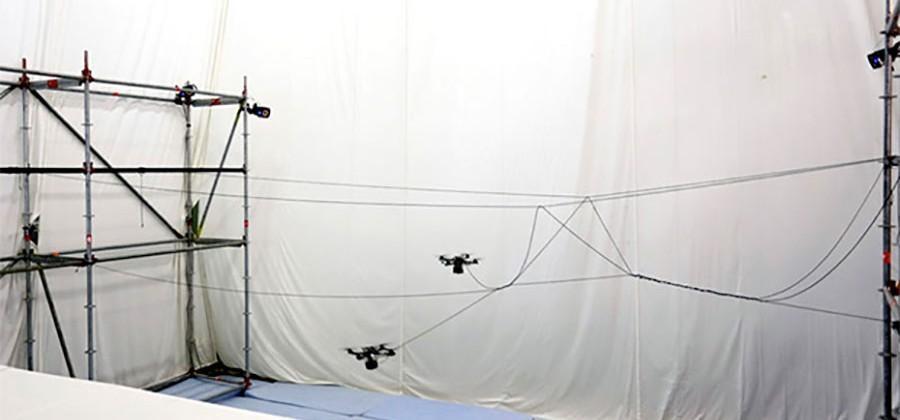 Researchers coax quadrotor drones to build a rope bridge
