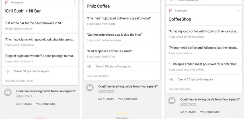 Google Now shows Foursquare tips even without Foursquare