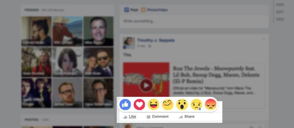 Facebook combines emoji with multi-option Likes for 'Reactions'