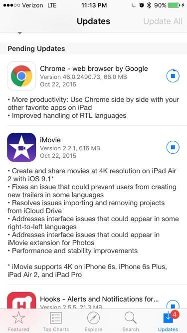 Chrome, Feedly, iMovie, Vivint Sky get iOS 9 updates - SlashGear