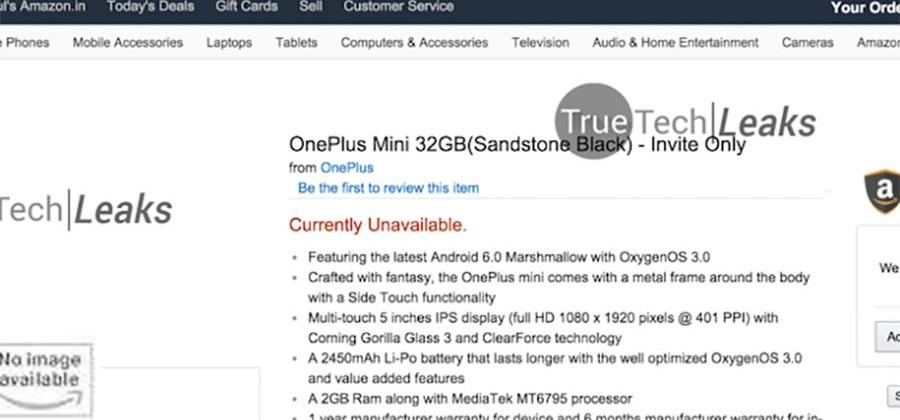 OnePlus Mini turns up on Amazon India briefly