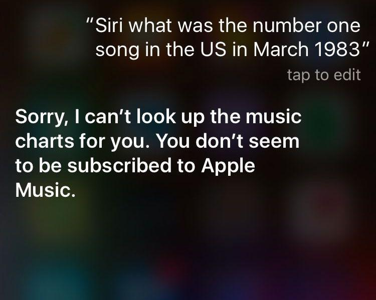 Siri answers music chart questions, but only for Apple Music subscribers
