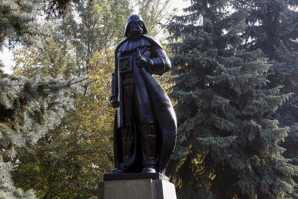Lenin statue transformed into Darth Vader WiFi hotspot