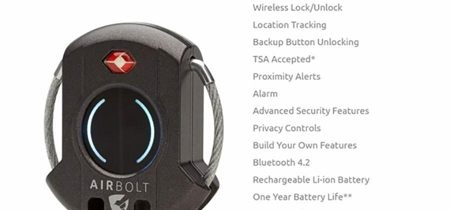 AirBolt Smart Travel Lock has location tracking