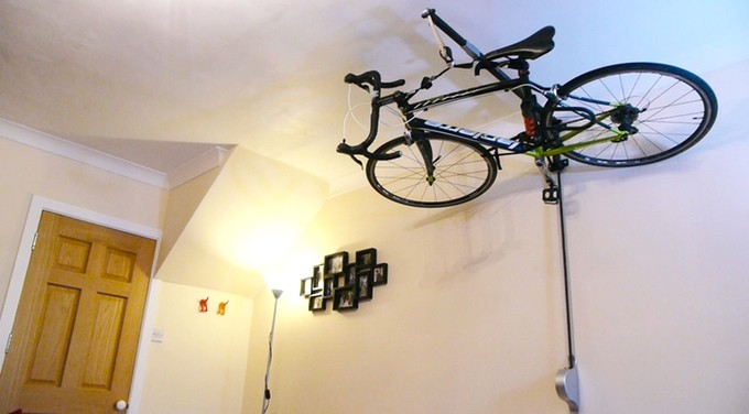 Stowaway stores your bicycle overhead