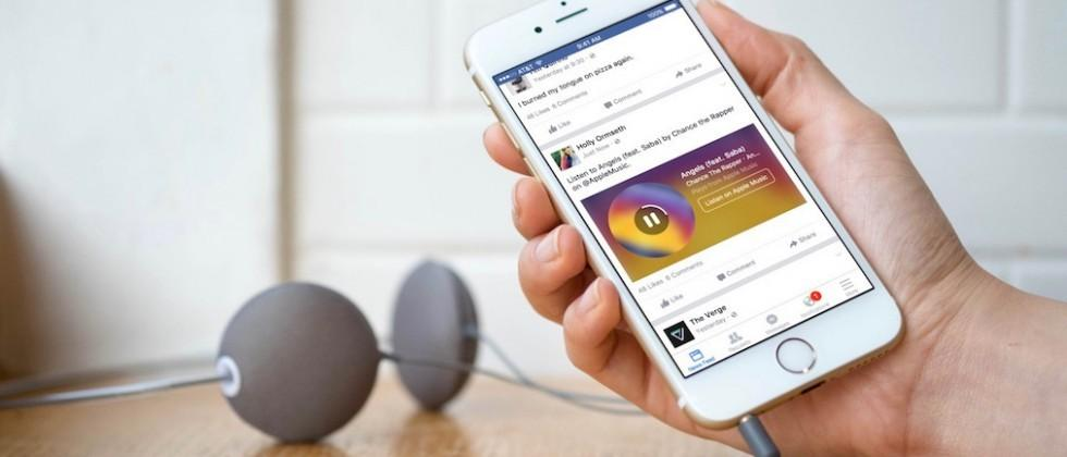 Facebook iOS app will play Spotify, Apple Music clips in News Feed