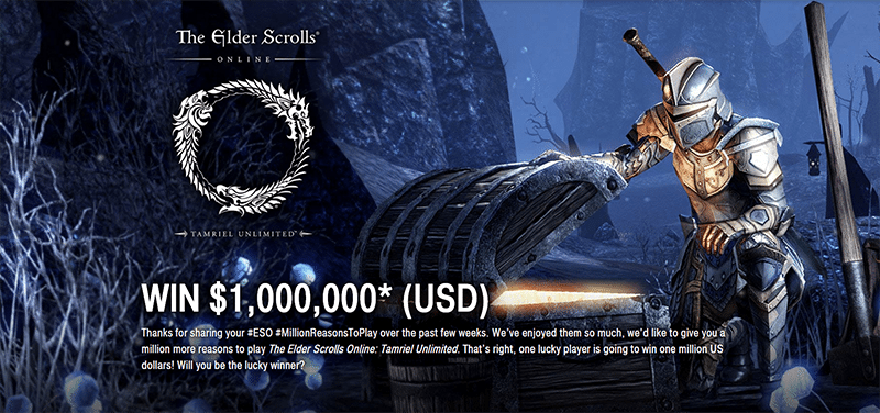 The Elder Scrolls Online bribes players with a shot at $1 million