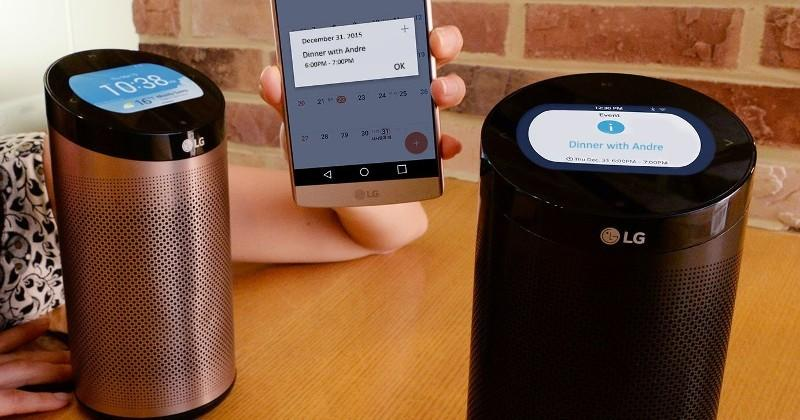 LG's cylindrical SmartThinQ Hub has its own LCD display