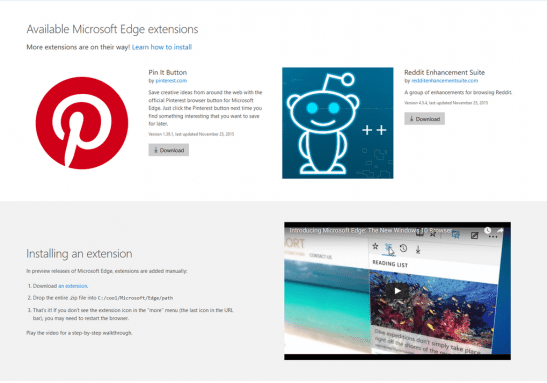 Microsoft Edge browser extensions leaked, coming really soon