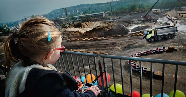 Volvo turns dump truck into RC car, gives 4-year-old the controls