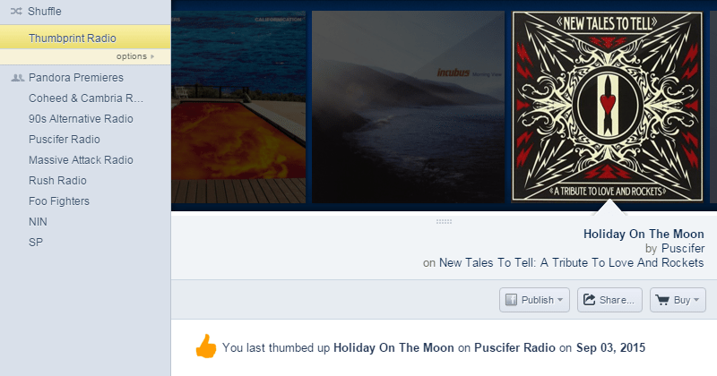 Pandora's Thumbprint station mixes up your favorite tracks