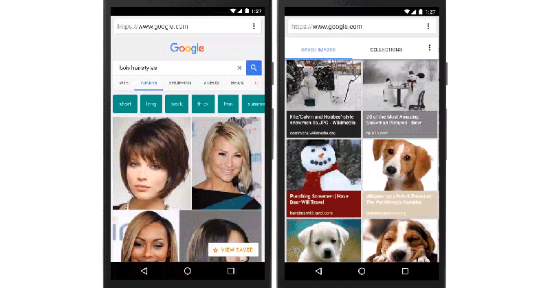 Google mobile search lets you pin (save) images for later