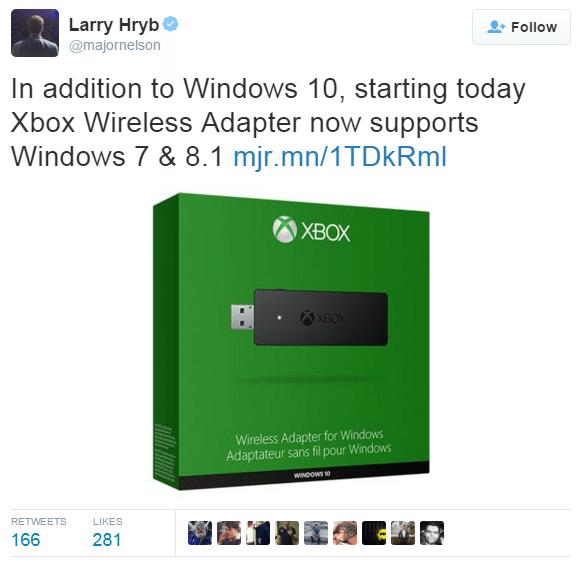 Xbox One Wireless Adapter now works with Windows 7/8 1
