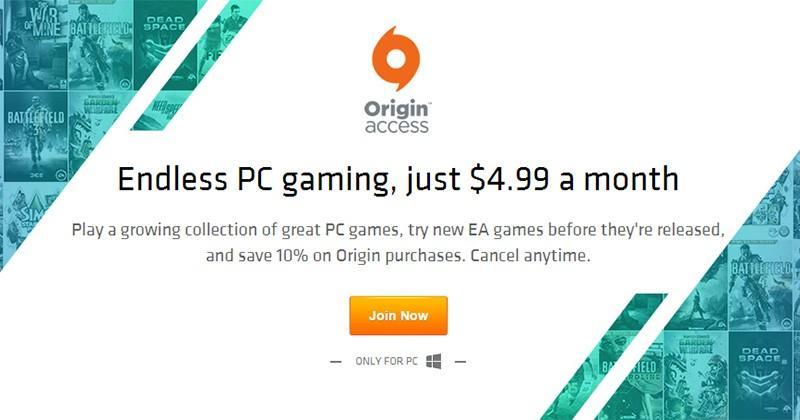 EA's Origin Access provides $4.99 subscription for PC games