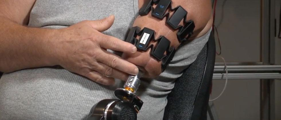 Myo gesture control band controls MPL prosthetic arm