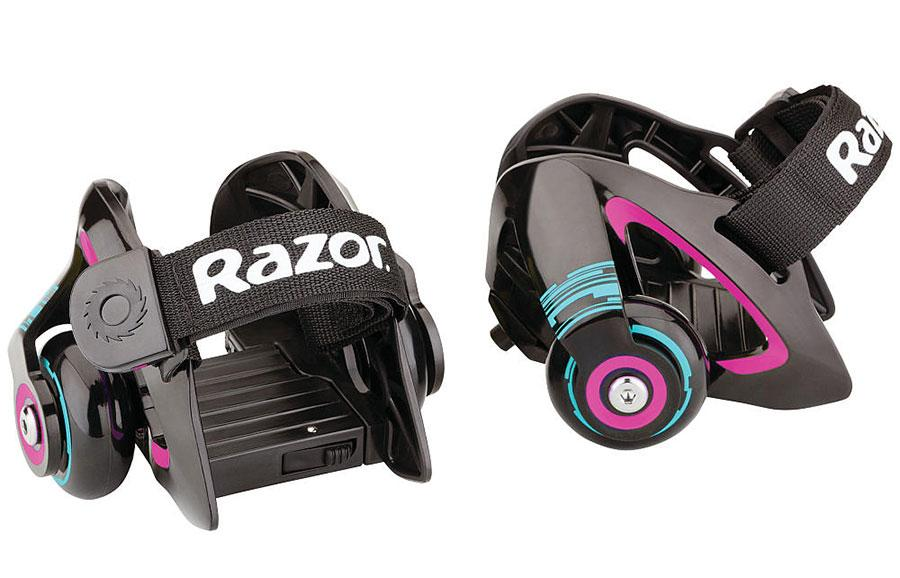 Roller skate wheels attach to any size shoes with a safety