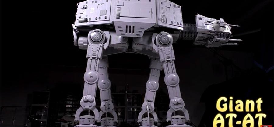 Giant LEGO AT-AT built with over 6,000 bricks