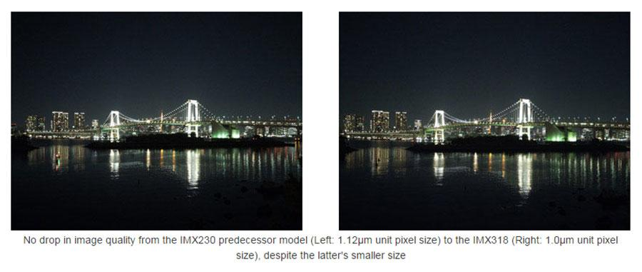 Sony IMX318 Stacked CMOS EXMOR RS image sensor has integrated hybrid autofocus