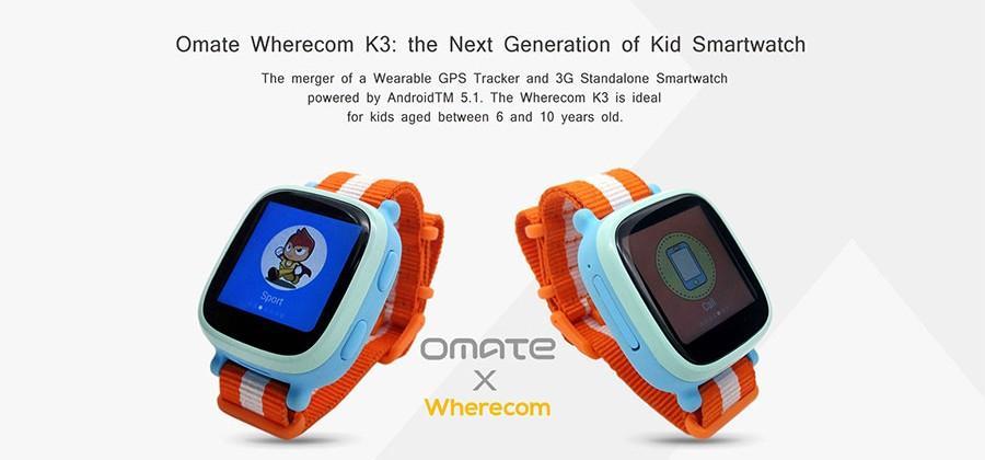 Omate Wherecom K3 kid smartwatch has integrated phone