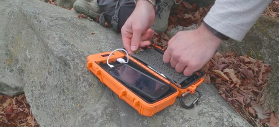RokPak rugged solar dry box doubles as phone charger