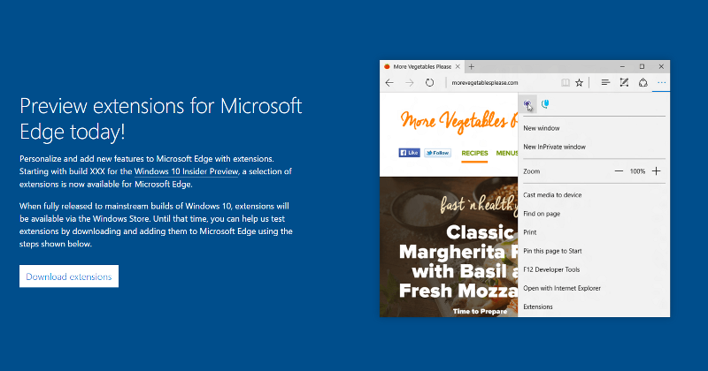 Microsoft Edge browser's Extension are here, almost