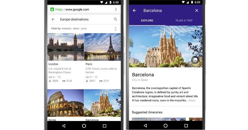"""Destinations on Google"" let's your phone help with the planning"