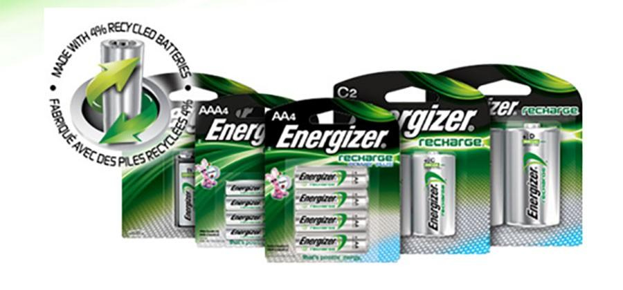 Energizer Recharge batteries are made with 4% recycled batteries