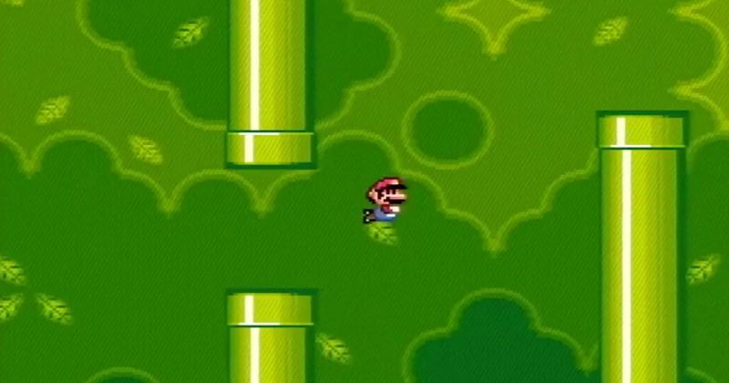 Super Mario World turned into Flappy Bird, all done by hand