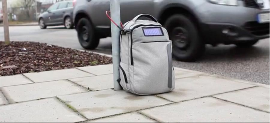 Lifepack gear bag has built-in locking cable, solar charger
