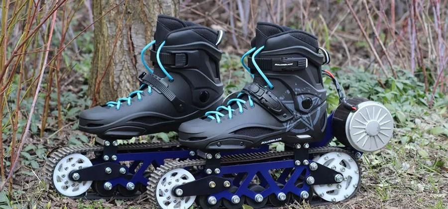 Off-road in-line skates have tank treads and electric motors