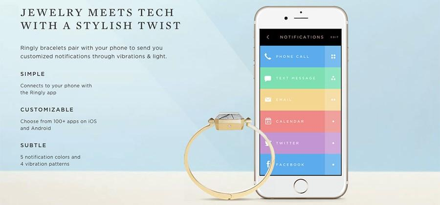 Ringly unveils Aries step counting bangle bracelet wearable