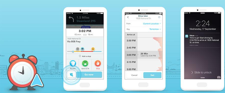 Waze Planned Drives tell you how to get there and when to leave