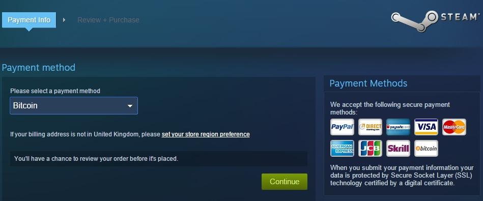 Steam games can now be purchased with Bitcoin