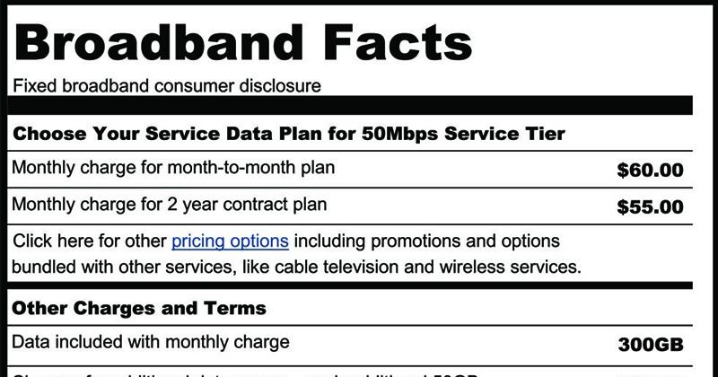 "FCC unveils ""Nutrition labels"" for broadband connections"