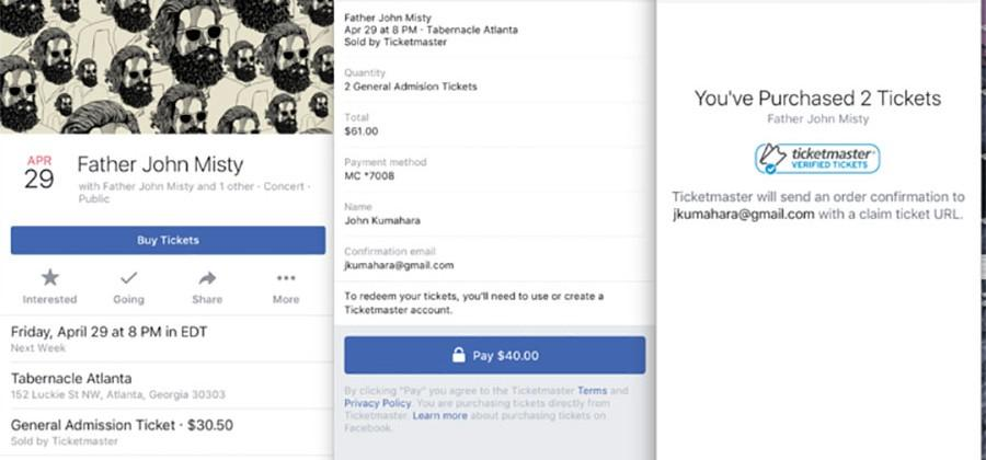 Ticketmaster and Eventbrite to sell tickets via Facebook