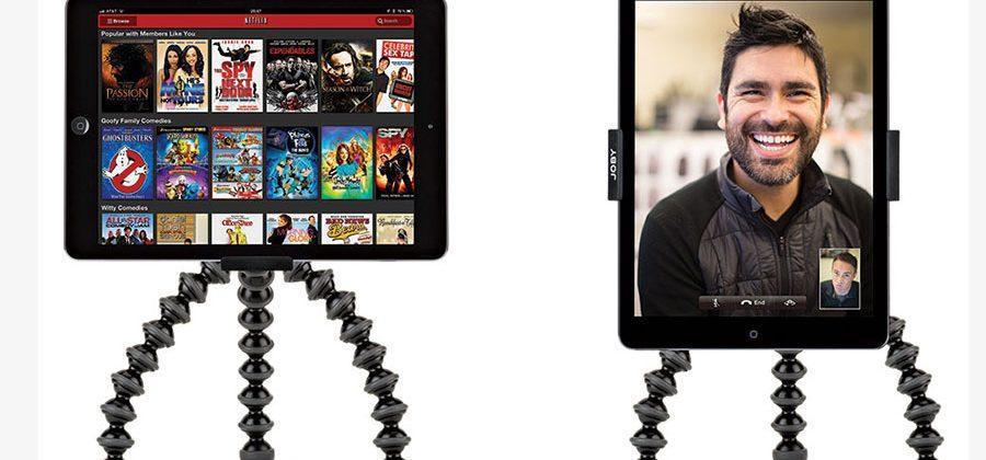 Joby GripTight Pro Tablet holder does landscape and portrait modes
