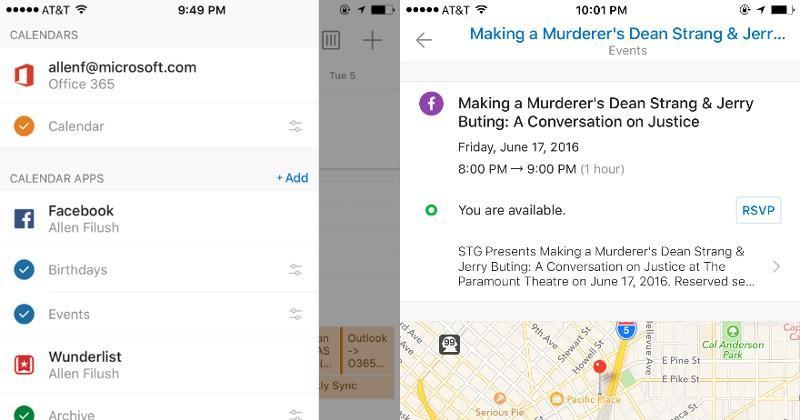 Outlook mobile Calendar Apps integrate Wunderlist, Evernote, Facebook
