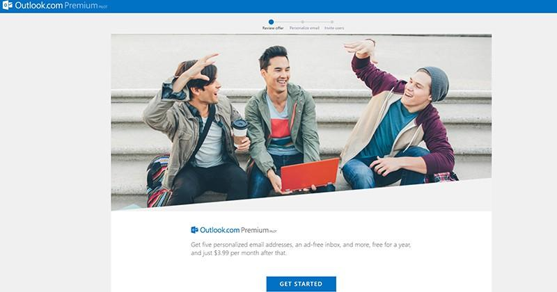 Outlook.com Premium Pilot page appears, will run $3.99 per month