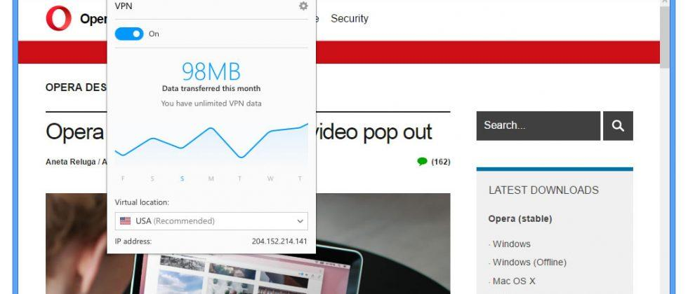 Opera browser gains free integrated VPN