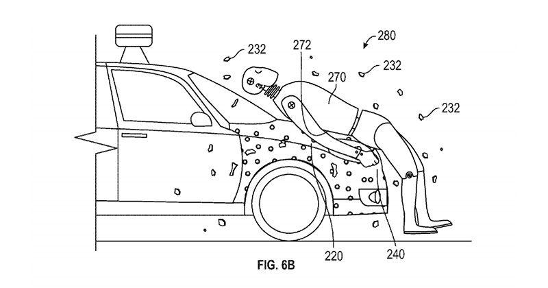 Google patents sticky hoods for self-driving cars