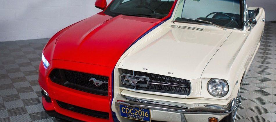Classic and modern Ford Mustangs welded together for the sake of art