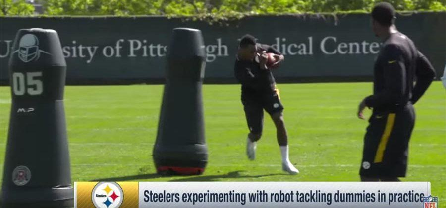 Pittsburgh Steelers test robot tackling dummies