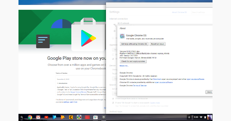 Chrome OS dev 53 update brings the promised Google Play
