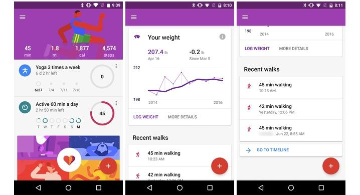 Google Fit app updated with customizable widget, goals, new UI