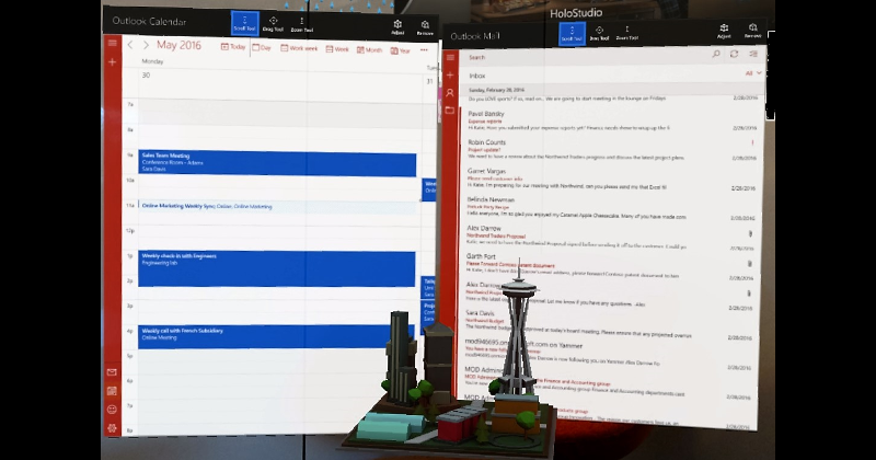 Microsoft HoloLens gets productive with Outlook Mail and Calendar