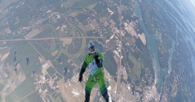 Skydiver sets record with 25,000ft jump using net instead of parachute