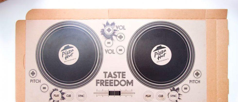 Pizza Hut DJ box puts two turn tables and conductive ink inside your pizza box