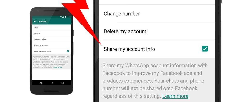 Opt-out of WhatsApp web Facebook account info auto-share