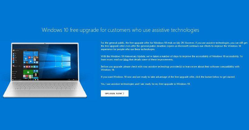 Windows 10 update still free for Assistive Technology users